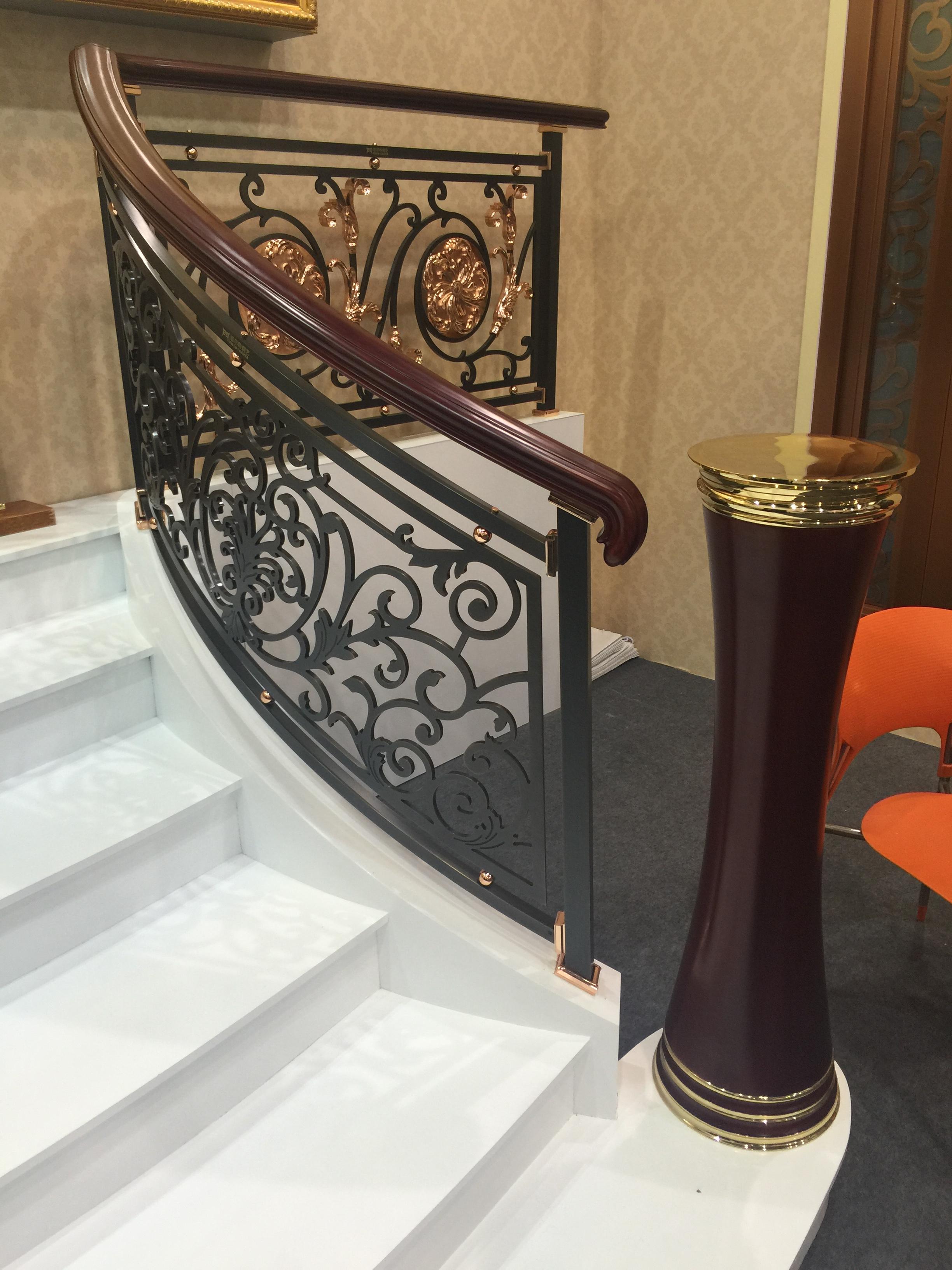 别墅酒店铜楼梯扶手设计